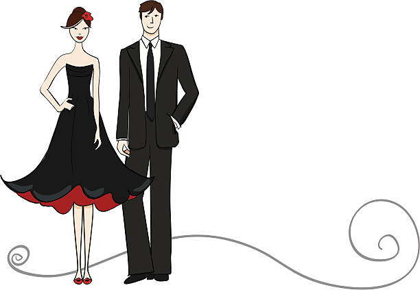 couple - prom fashion stock illustrations, clip art, cartoons, & icons