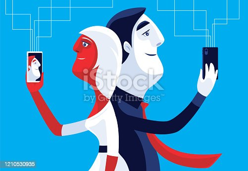 vector illustration of cheerful couple video chatting via smartphones