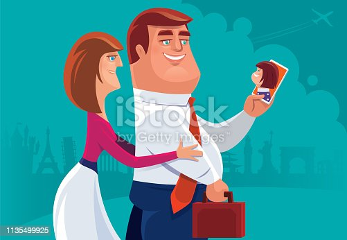 vector illustration of couple video chatting with daughter via smartphone