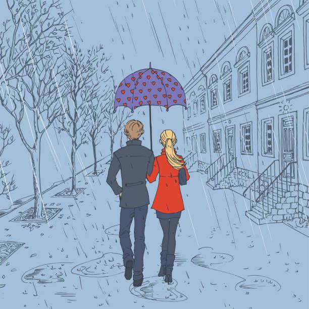 illustrazioni stock, clip art, cartoni animati e icone di tendenza di couple walking down the street in the rain - city walking background