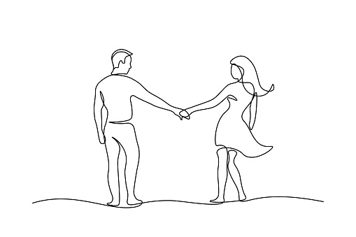 Couple walking holding hands