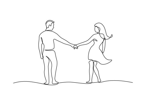 Couple walking holding hands Couple walking together holding hands in continuous line art drawing style. Loving man and woman. Romantic date. Black linear sketch isolated on white background. Vector illustration young couple stock illustrations