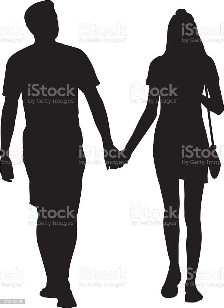 couple walking holding hands royalty free stock vector art