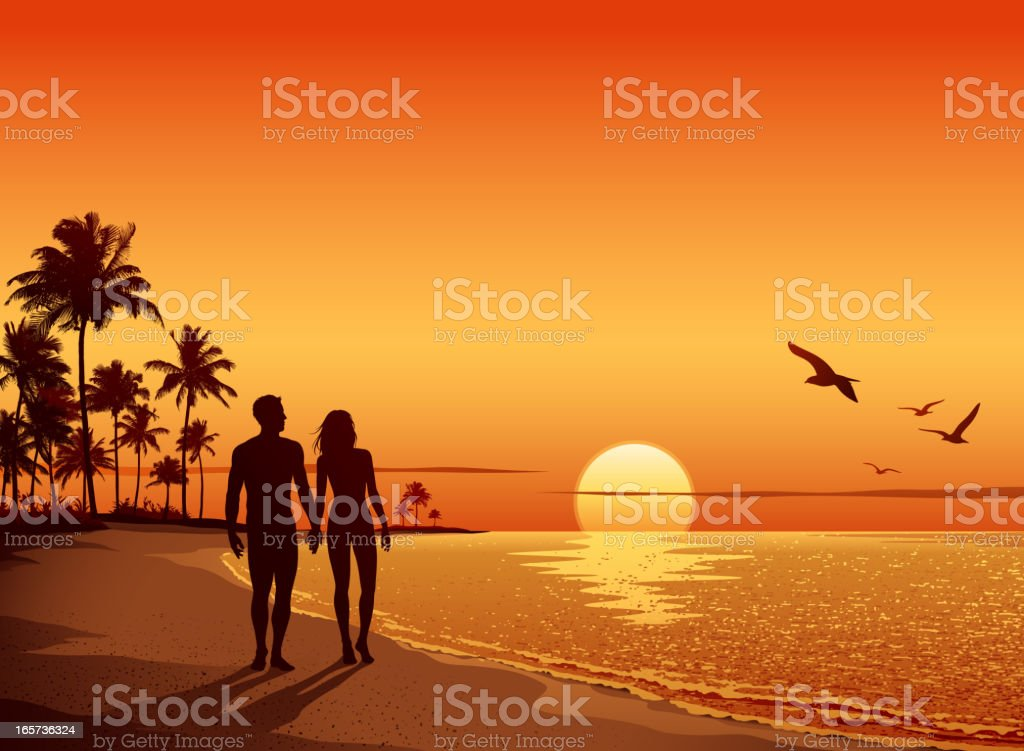 Couple walking on the Beach at Sunset vector art illustration