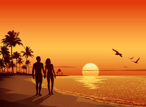 couple walking on the beach at sunset - couples stock illustrations, clip art, cartoons, & icons
