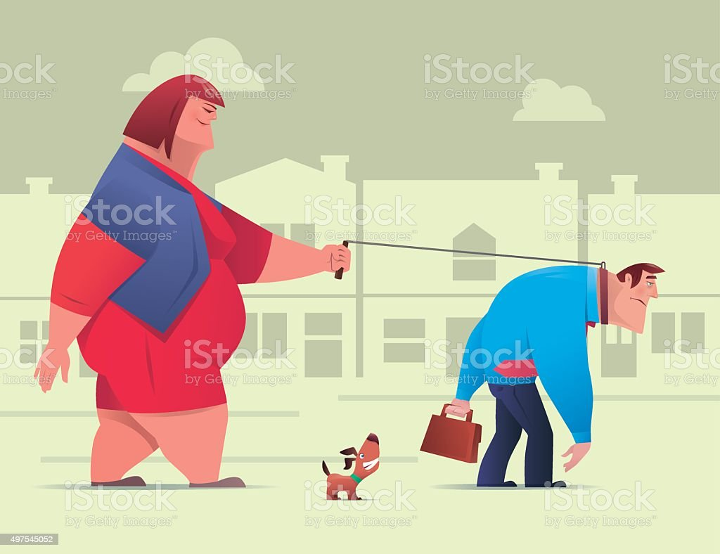 couple walking vector art illustration