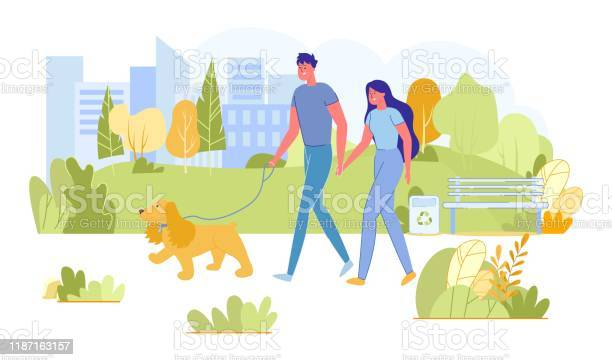 Couple walking with dog in city park leisure vector id1187163157?b=1&k=6&m=1187163157&s=612x612&h=wiztfctutginnknaiorkar6uwuc vdqmd1uhs nfqsq=