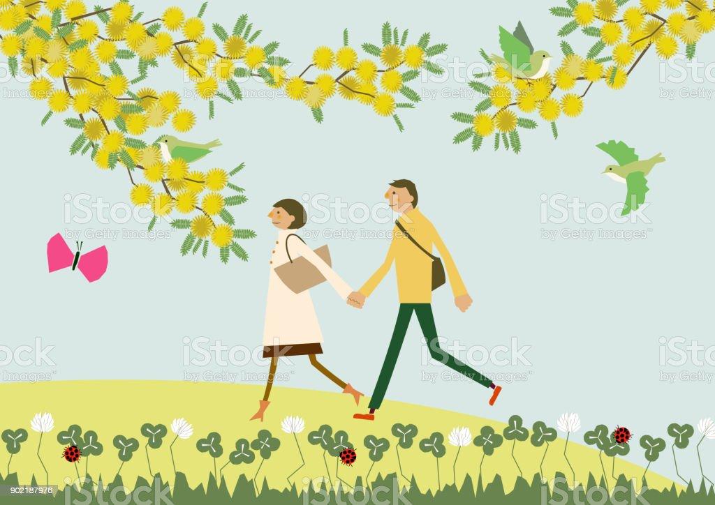 ミモザの花散歩カップル。季節のイラスト。春のイメージ。 ベクターアートイラスト