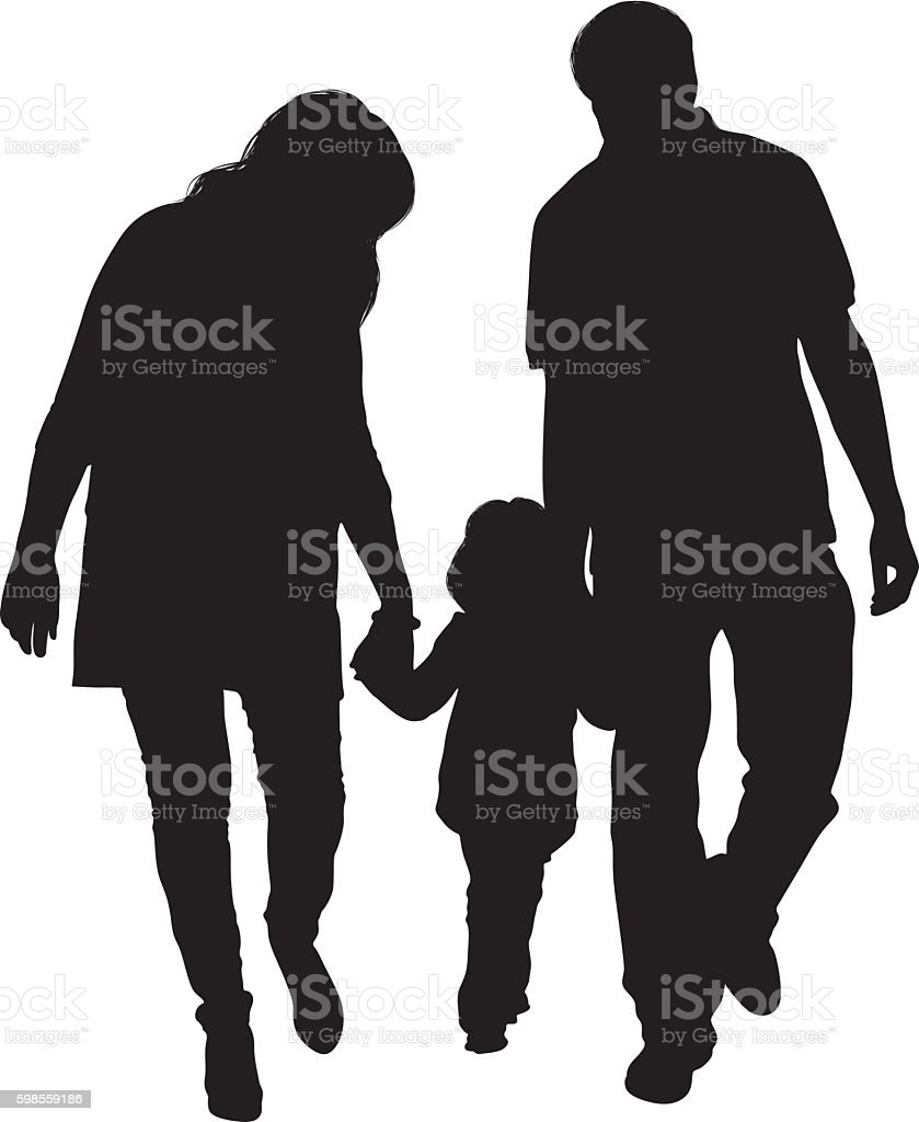 Couple walking with their baby vector art illustration