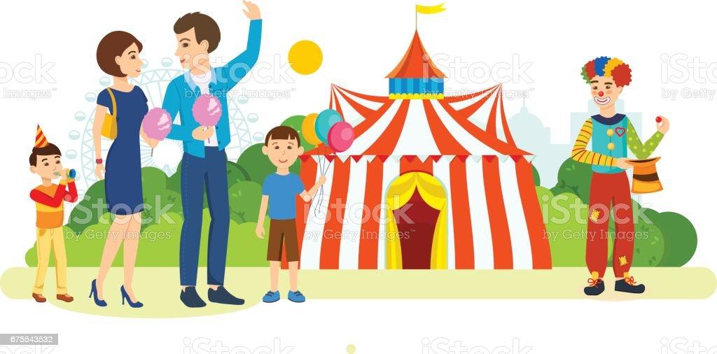 Couple passe devant le terrain de jeu et de cirque, mange coton doux couple passe devant le terrain de jeu et de cirque mange coton doux – cliparts vectoriels et plus d'images de adulte libre de droits
