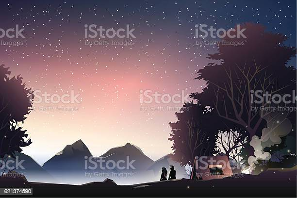 Couple watch mountain at dusk vector id621374590?b=1&k=6&m=621374590&s=612x612&h=8 ir4apa dhdcgtb2 5l vb802y4tuogxukwlymi3zc=
