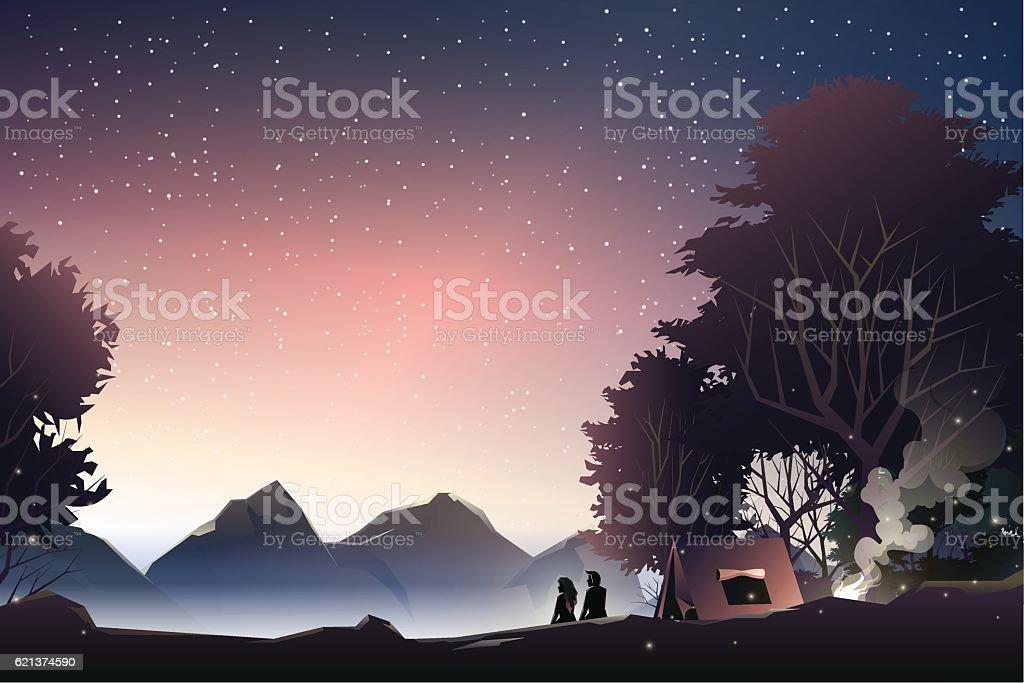 couple watch mountain at dusk vector art illustration