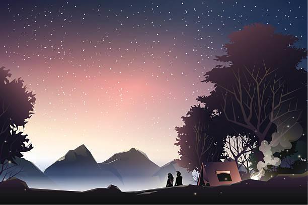 couple watch mountain at dusk - dusk stock illustrations