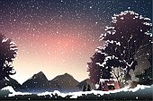 couple watch mountain at dusk when winter.vector