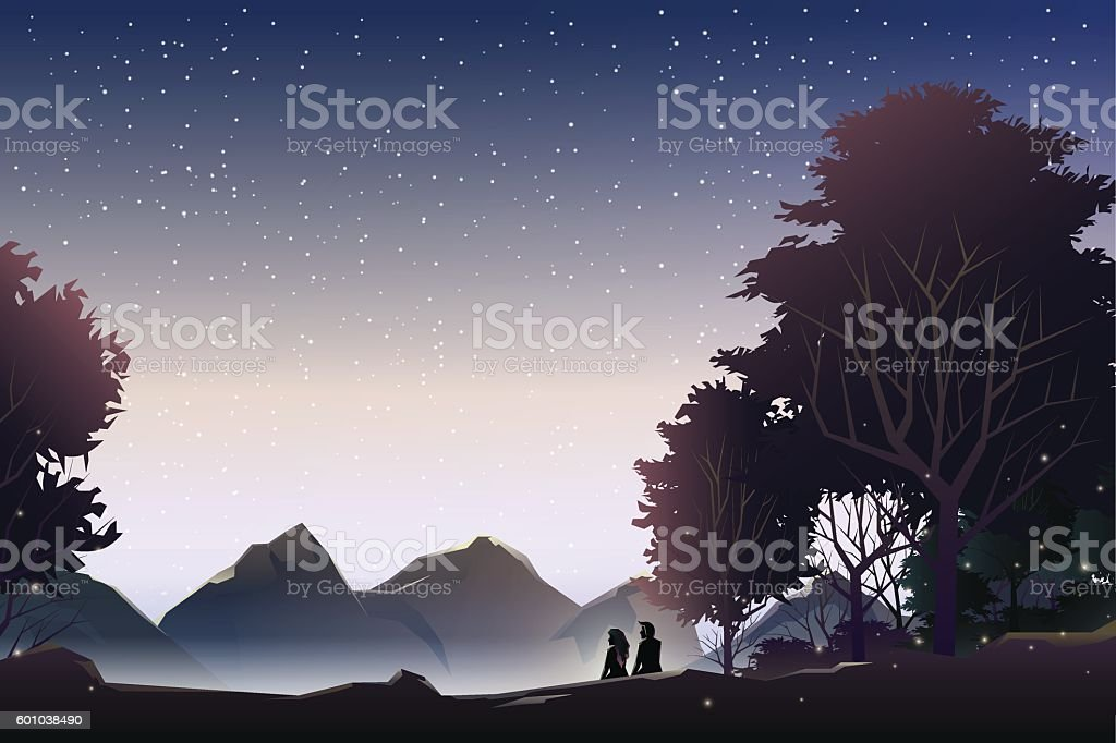 couple watch mountain at evening