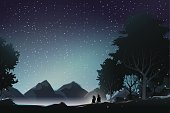 couple watch mountain at night