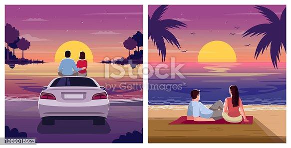 istock Couple watch sunset semi flat vector illustration set 1269018923