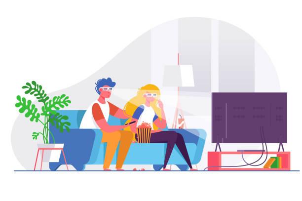 ilustrações de stock, clip art, desenhos animados e ícones de couple watching 3d movie on big tv. - tv e familia e ecrã