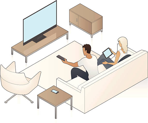Couple Watching Television A man watches TV while a woman holds a tablet computer. watching tv stock illustrations