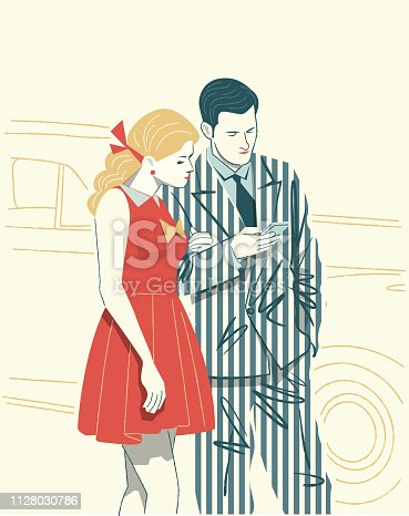 Couple watching the Cell Phone in a retro Image