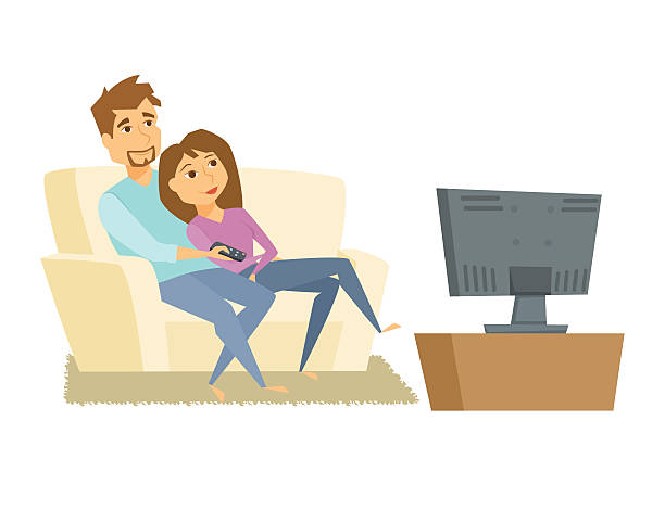 Couple watching tv Couple watching tv. Man and woman sitting on sofa and watching television together. Young couple relaxing at home, use the remote control and watch tv movie. Family tv leisure vector illustration watching tv stock illustrations