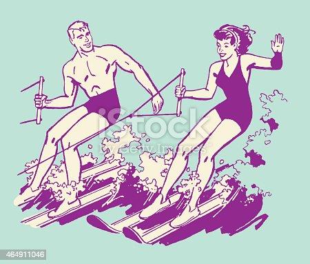 Couple Waterskiing