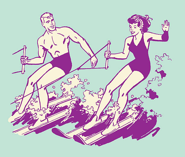 Couple Waterskiing http://csaimages.com/images/istockprofile/csa_vector_dsp.jpg lakeshore stock illustrations