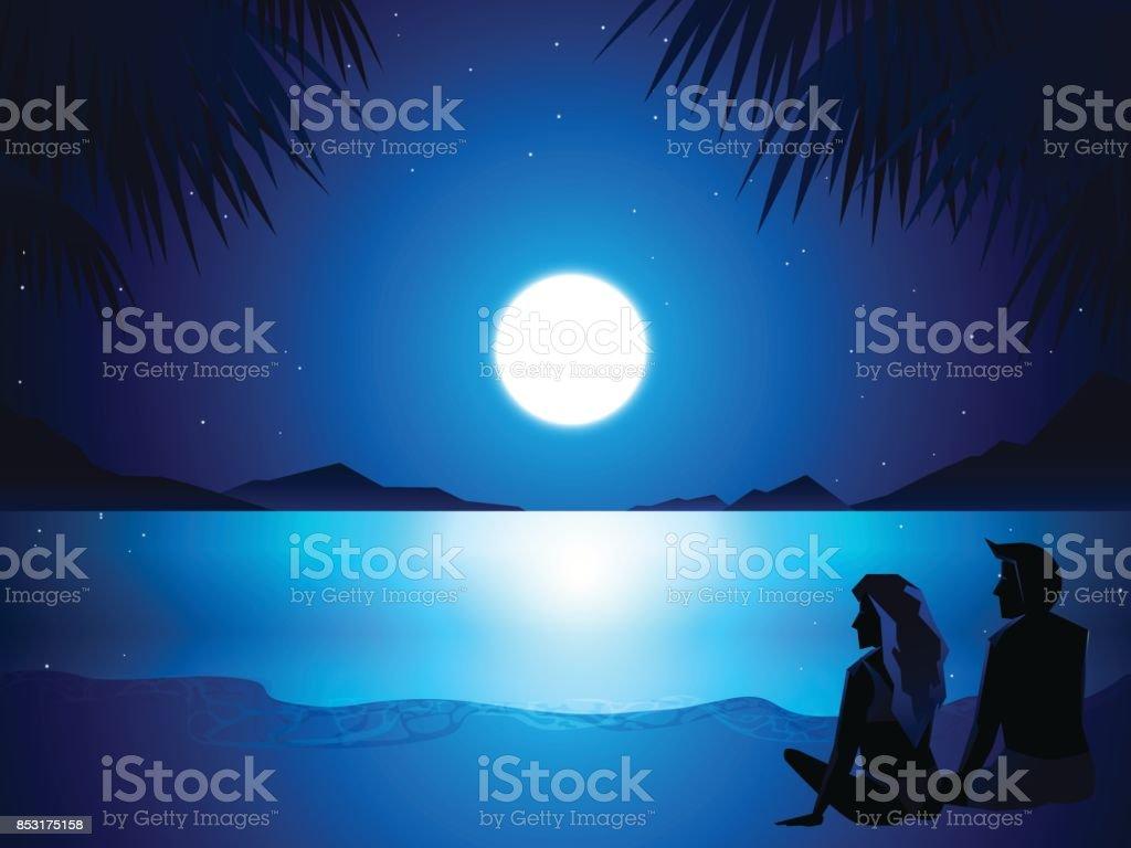 couple wear swimsuit sitting in beach vector art illustration