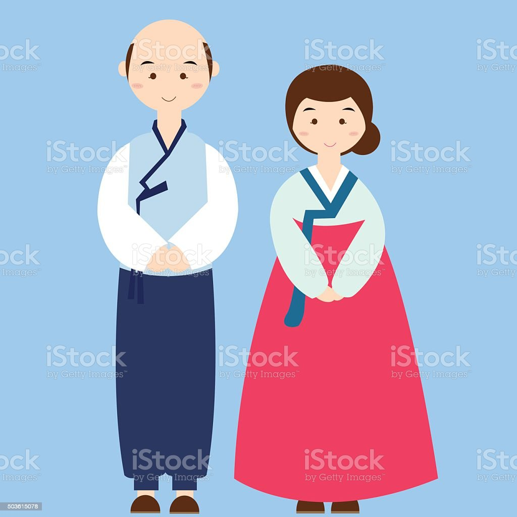 カップルを着ている韓国の伝統的な衣装ドレス服アジア式ウェディング
