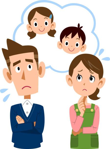 子供の将来を心配しているカップル - 家族 日本点のイラスト素材/クリップアート素材/マンガ素材/アイコン素材