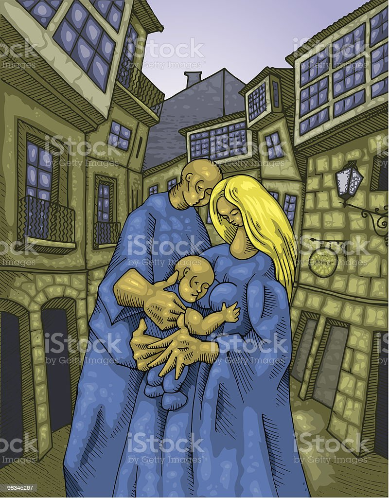 Couple with Baby in Old Street royalty-free couple with baby in old street stock vector art & more images of adult