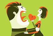vector illustration of couple with broken heart