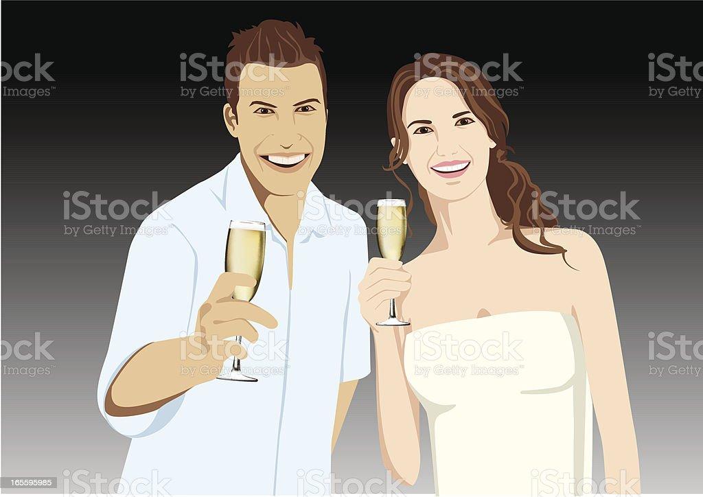 Casal com champanhe ilustração de casal com champanhe e mais banco de imagens de adolescente royalty-free