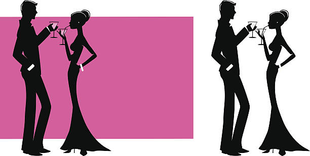 couple with cocktails - black tie events stock illustrations, clip art, cartoons, & icons