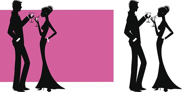 Couple avec cocktails - Illustration vectorielle