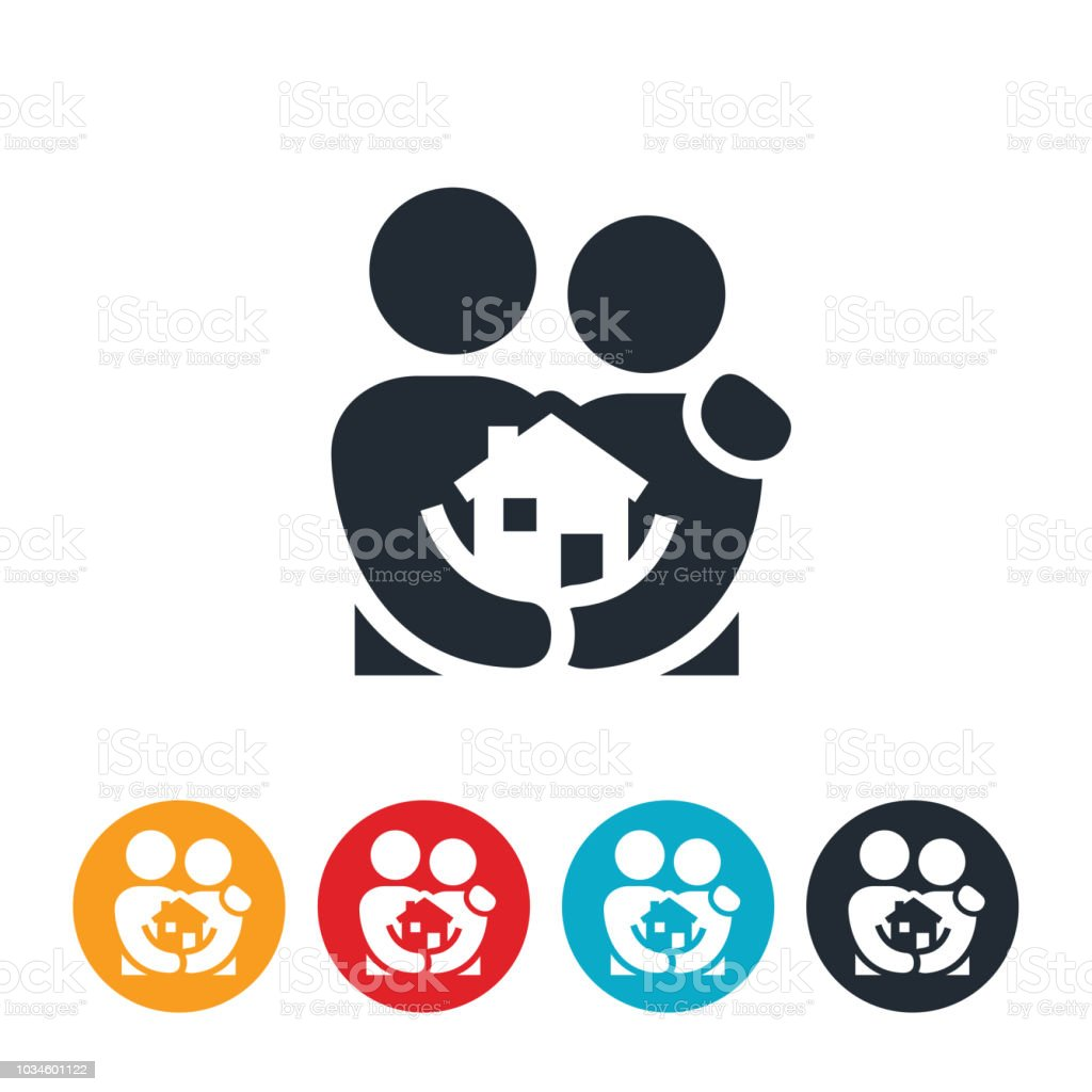 Couple With First Home Icon vector art illustration