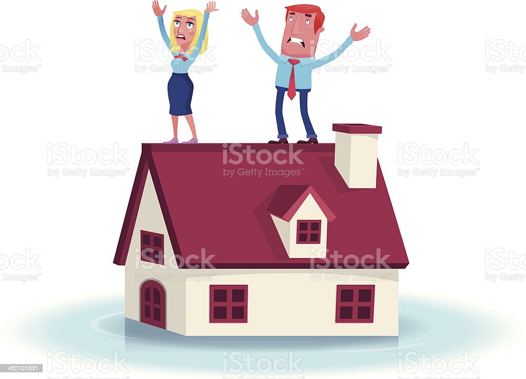 couple with flooded house royalty-free stock vector art