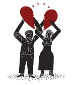 couple with halfs of broken heart