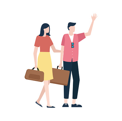 Couple with Handbags, Man and Woman Travel Vector