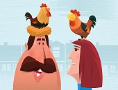 vector illustration of of man with hen and rooster…