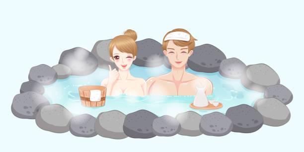 bildbanksillustrationer, clip art samt tecknat material och ikoner med par med varm källa - japanese bath woman