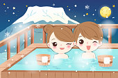 cartoon couple smile and enjoy with hot spring