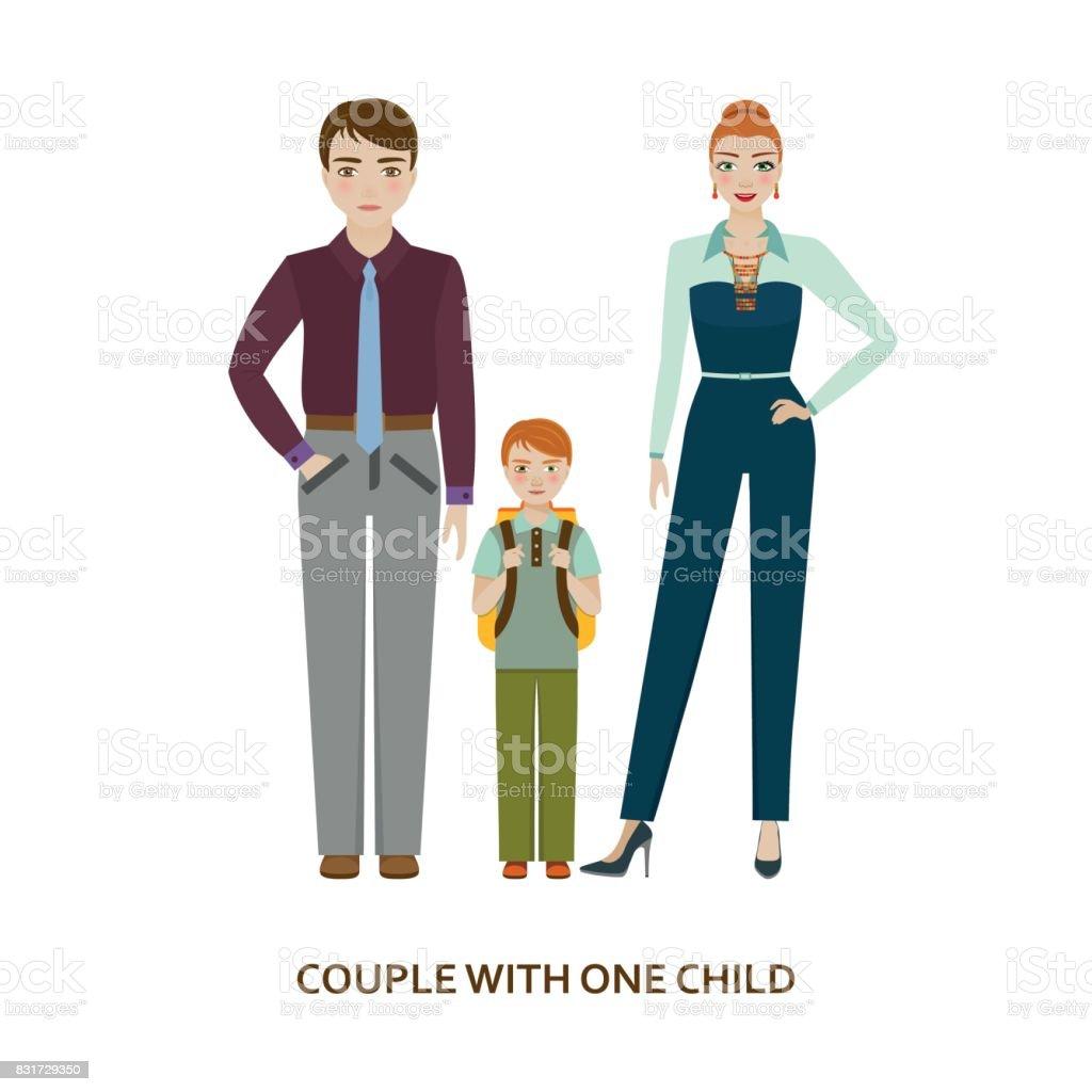 1 つの子を持つカップルします漫画イラスト のイラスト素材 831729350