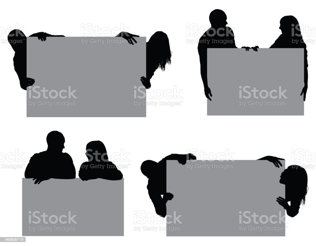 Couple with placards royalty-free couple with placards stock vector art & more images of admiration