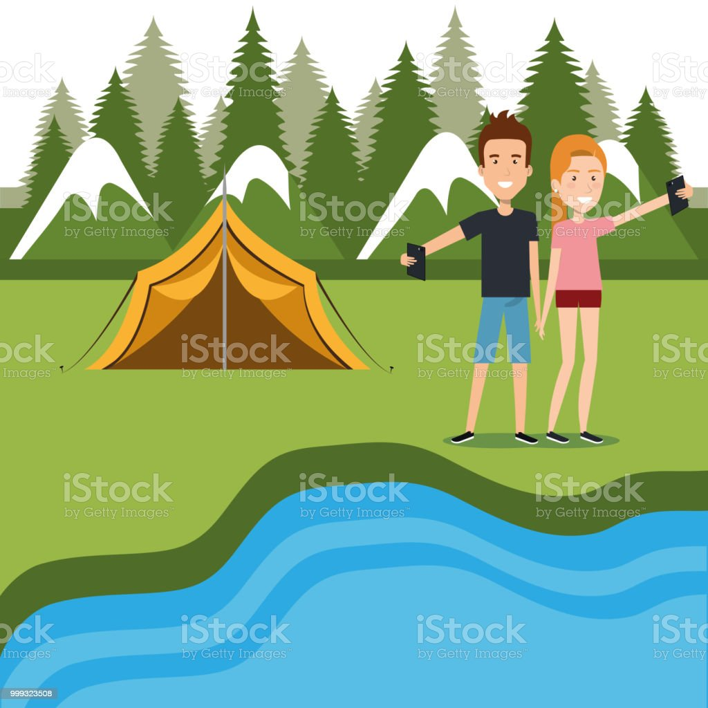 couple with smartphones in the camping zone vector illustration design