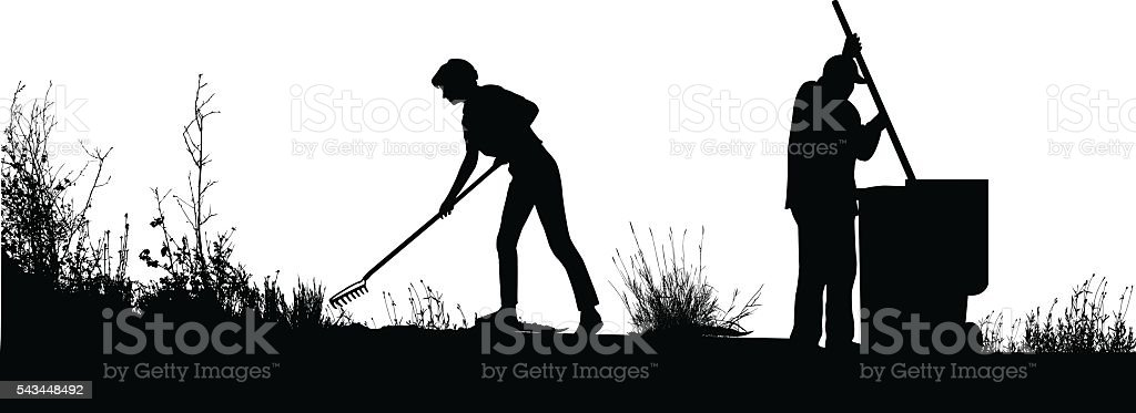 Couple Yard Landscaping vector art illustration