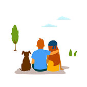 couple, young man, woman and their dog sit hug enjoying nature isolated vector graphic scene