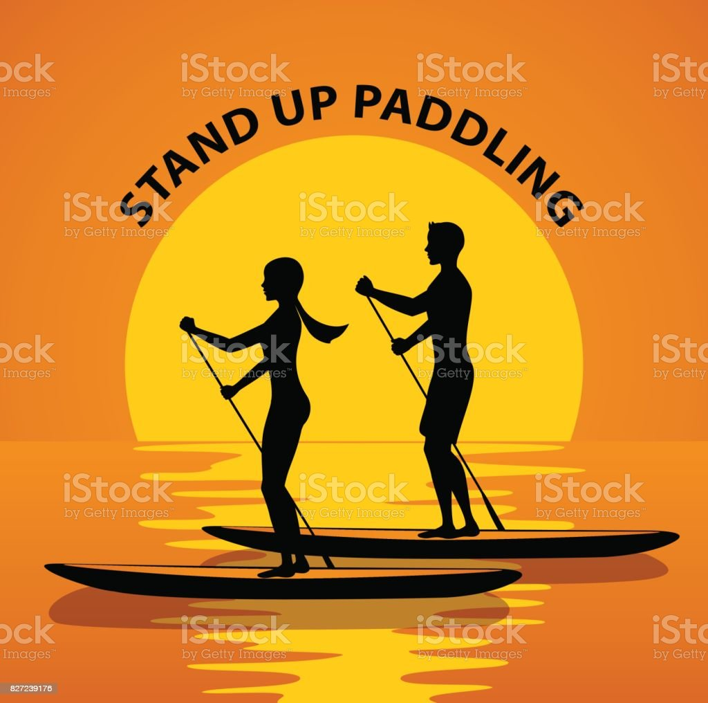 Couple,Man and woman do stand up paddling on water at sunset silhouette. vector art illustration
