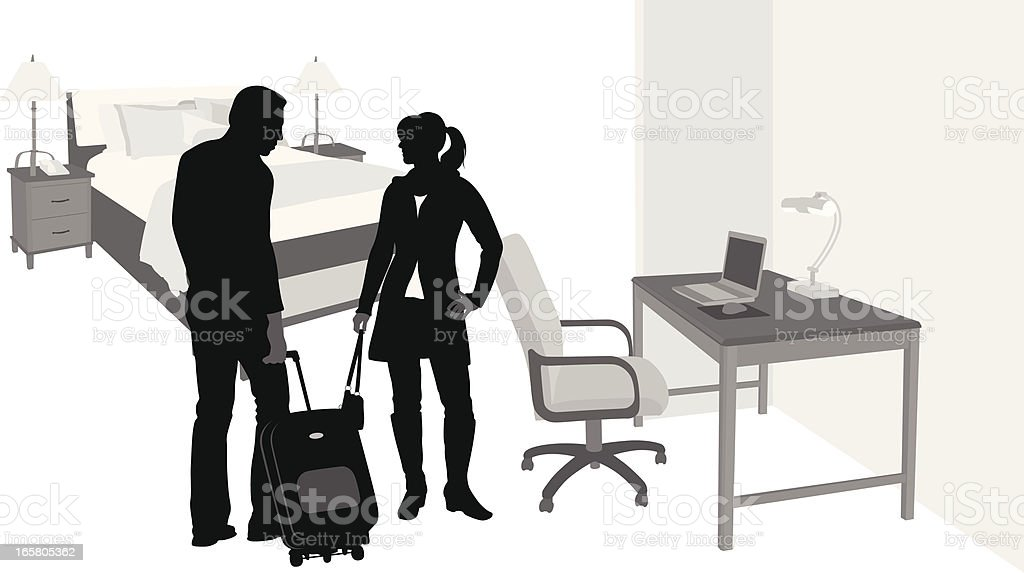 Couple'n Hotel Vector Silhouette vector art illustration