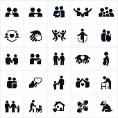 Icons representing couple and family relationships. The icons show couples holding hands, families, children, spouses and other loving relationship themes found within the family unit.